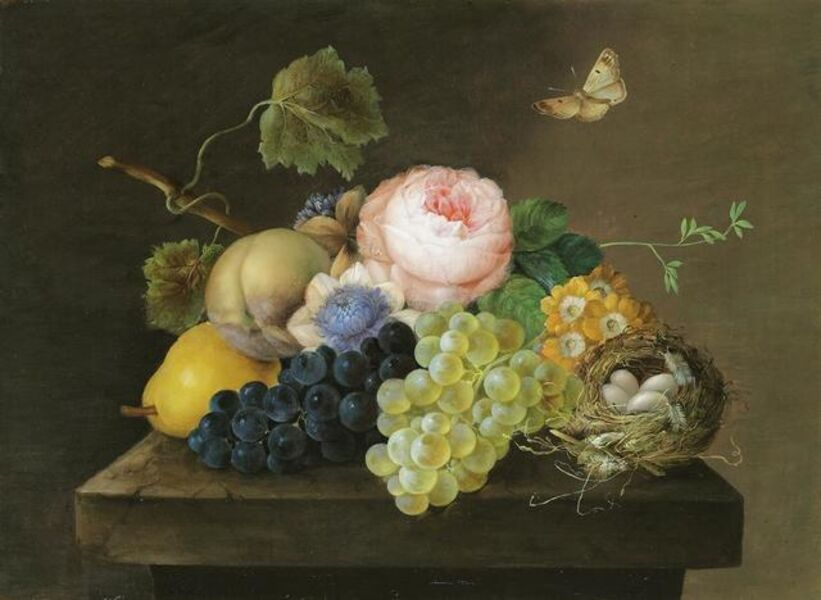 Franz Xaver Petter, 'Still life with grapes, pears, flowers and a bird's nest', ca. 1820