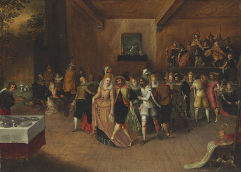 Hieronymus Francken II, 'Dancers and musicians in an interior'