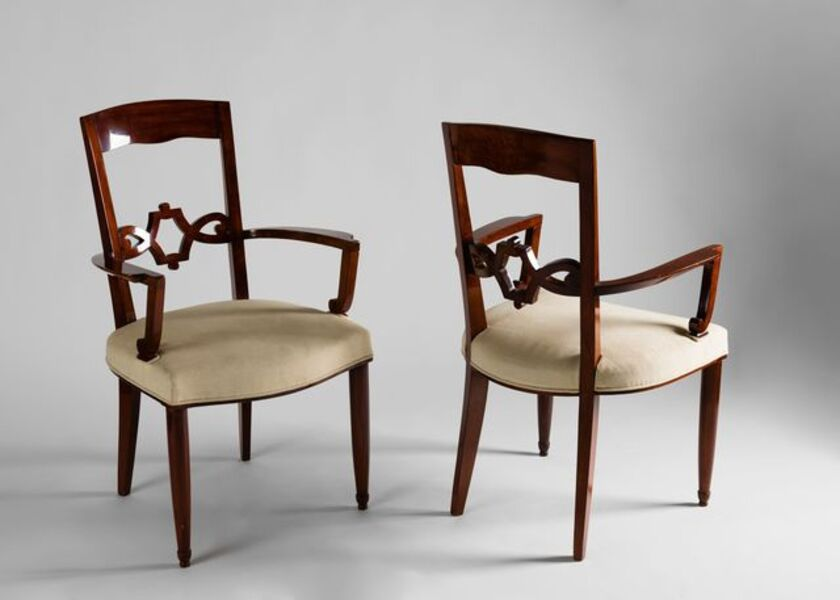 Jules Leleu, 'Pair of Armchairs', ca. France-circa 1950