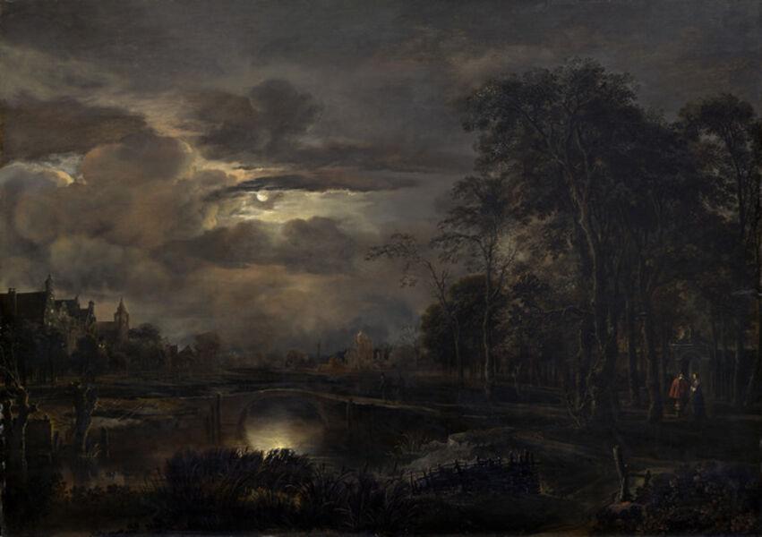 Aert van der Neer, 'Moonlit Landscape with Bridge', probably 1648/1650