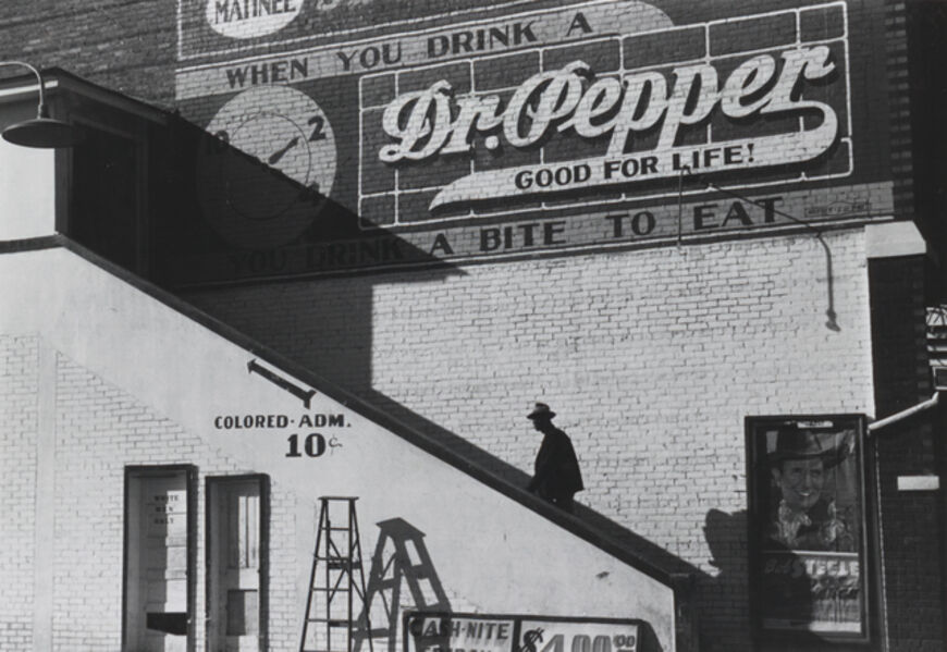 """Marion Post Wolcott, 'Man entering movie theater by """"Colored"""" entrance', 1939"""