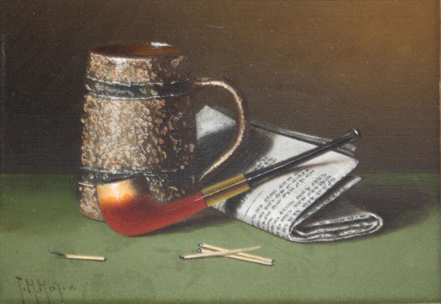 Thomas H. Hope, 'Trompe l'oeil pipe, newspaper & matches', 1850-1900