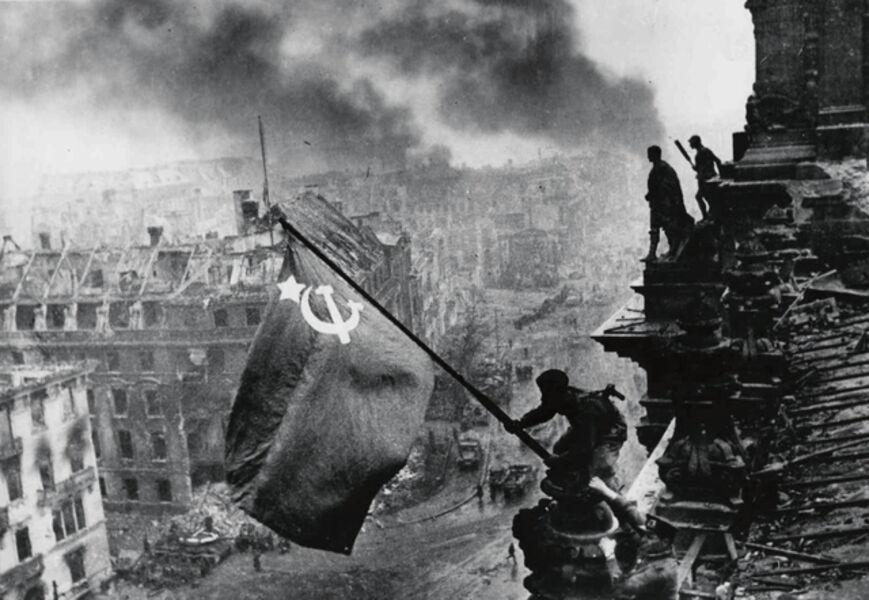 Yevgeny Khaldei, 'Raising the Soviet Flag over the Reichstag', 1945