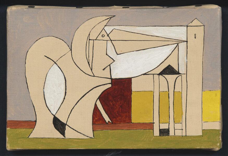 Óscar Domínguez, 'Figura con arquitecturas', 1956