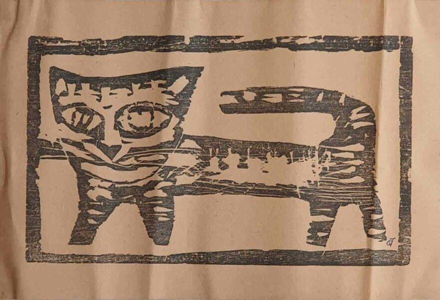"Badri Narayan, 'Cat, Wood Cut on Paper by Padmashree Modern Artist ""In Stock""', ca. Circa"