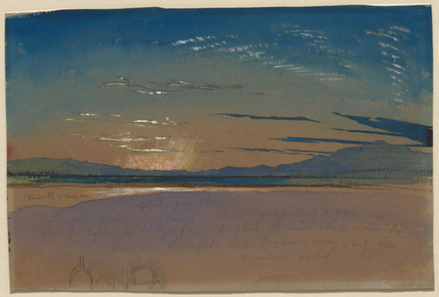 John Ruskin, 'Sunset over the Mountains', ca. 1845