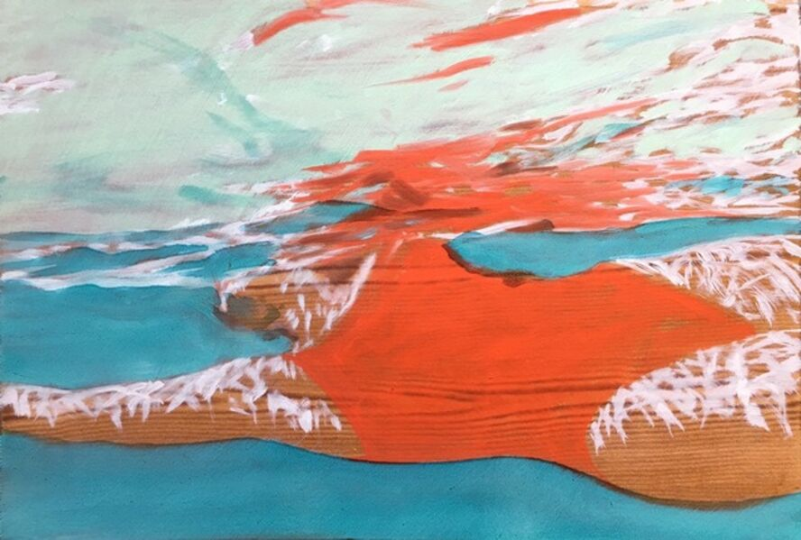 "Carol Bennett, '""August Suspense"" oil painting of a woman in a red swimsuit in a blue pool', 2017"