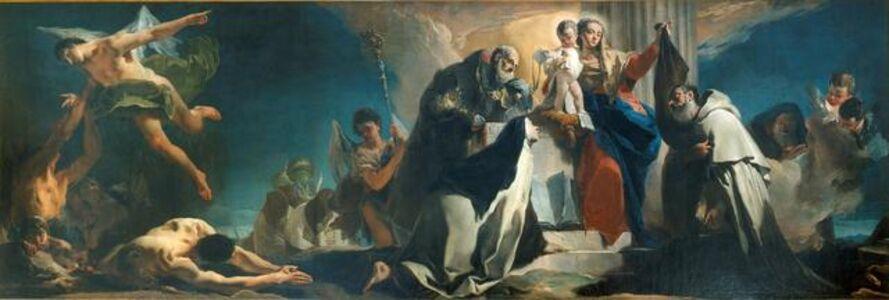 Giambattista Tiepolo, 'The Madonna of Mount Carmel between Saints Simon Stock, Teresa of Avila, Albert of Vercelli, the Prophet Elijah and Souls in Purgatory', 1721-1727