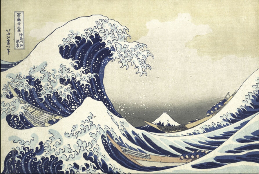 Katsushika Hokusai, 'Under the Wave off Kanagawa (Kanagawa oki nami ura), also known as the Great Wave, from the series Thirty-six Views of Mount Fuji (Fugaku sanjūrokkei)', ca. 1830-32