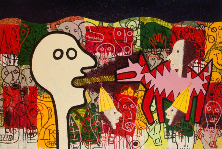 Russ Warren, 'Twelve Minutes in Valencia, 2017. Acrylic on canvas, diptych, 48 x 72', 2016