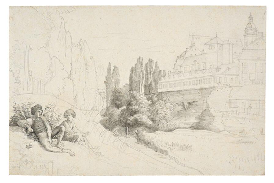 Julius Schnorr von Carolsfeld, 'View across the Moat towards the Thomas School and the Thomas Church in Leipzig', 1817