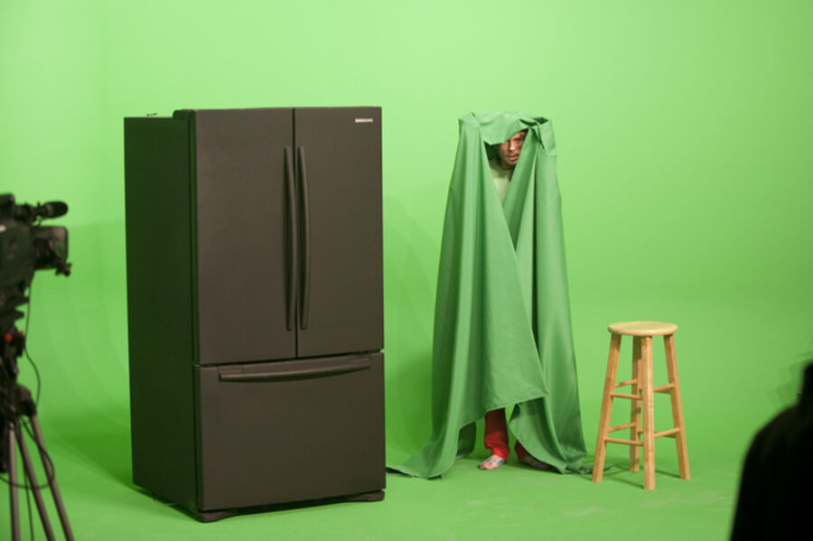 Mark Leckey, 'Performance view of GreenScreenRefrigeratorAction', 2010