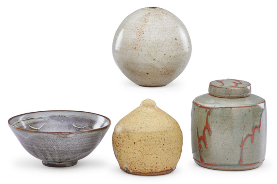 David Leach, 'Small bowl, tea caddy and spherical vessel by David Leach, and conical sculpture by Warren Mackenzie, England/USA', 1970s/1989