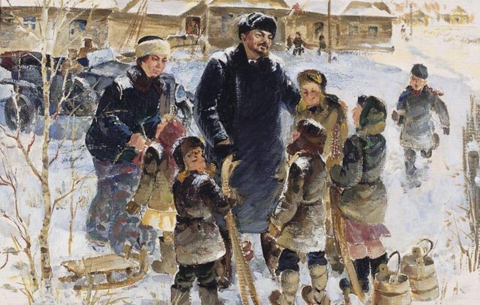 Viktor Petrovich Patrin, 'Lenin and Krupskaya with the children', 1984