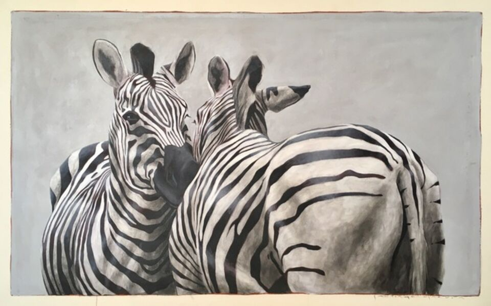 """Santiago Garcia, '""""Andante #101"""" oil painting of black and white zebras embracing', 2018"""