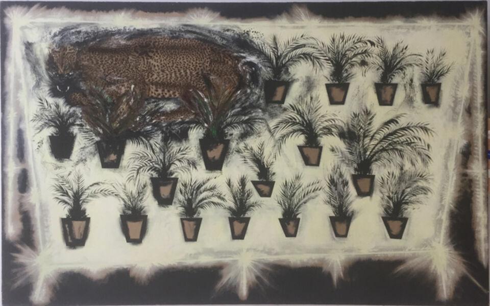 Silvio Merlino, 'Bancarella con pantera + 18 piantine di palma',  1985