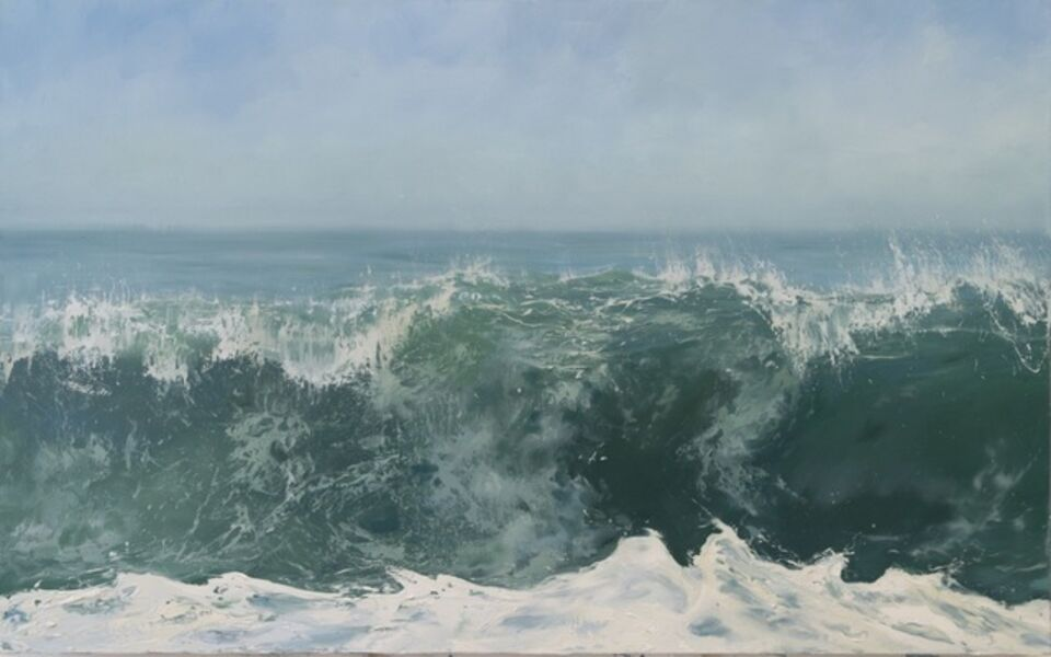 """Annie Wildey, '""""Morning Crest"""" Oil painting of cresting wave and sky in blues and greens ', 2010-2018"""