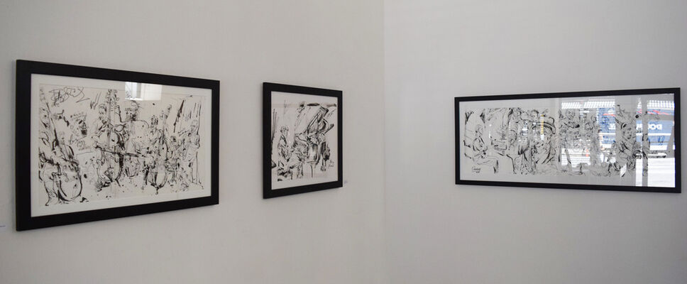 When the Music Starts: Jazz Drawings by Jonathan Glass, installation view