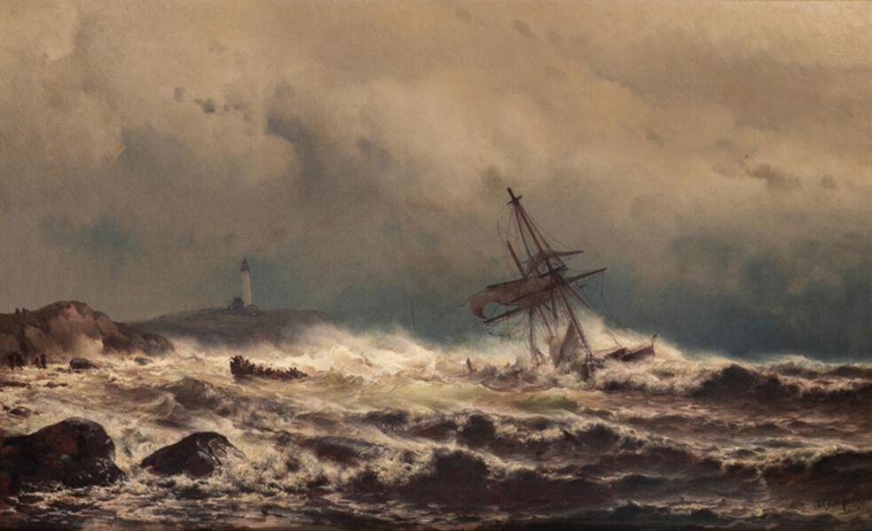Mauritz Frederik Hendrik de Haas, 'Ship Aground - Crew Abandoning Ship'