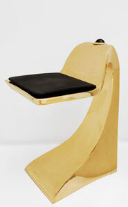 Gold shark stool with Obsidian