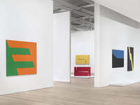 """Installation view of """"Carmen Herrera: Lines of Sight"""" at Whitney Museum of American Art, New York, 2016. Photography by Ronald Amstutz, courtesy of Whitney Museum of American Art."""