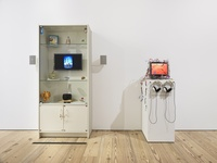 """Installation view of Maggie Lee, Mommy TV Installation, 2016, and Maggie TV Installation, 2016 at """"Mirror Cells"""" at the Whitney Museum of American Art, 2016. Photo by Genevieve Hanson, NYC."""