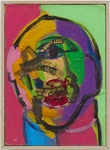 """Susan Tepper,Untitled (from the Heads series), c. 1978-1983. acrylic, Conté crayon, and collage on Masonite 8"""" x 5-3/4"""" (20.3 x 14.6 cm) © Arielle Tepper Madover, courtesy of Hyphen. Photo by Thomas Barratt."""
