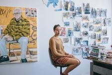 Portrait of Jordan Casteel in her studio at the Studio Museum in Harlem by Daniel Dorsa for Artsy.