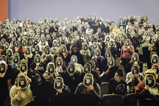"""Installation view of """"Guerrilla Girls, Is it even worse in Europe?,"""" a Whitechapel Gallery commission, 2016. Photo: Steven White, courtesy of Whitechapel Gallery, London."""