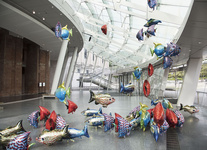 """Installation view of """"Philippe Parreno: My Room Is Another Fish Bowl,"""" at Brooklyn Museum. Photo courtesy of Brooklyn Museum."""