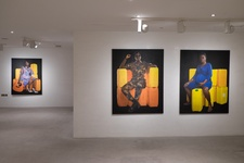 "Installation view of Jeremiah Quarshie, ""Yellow is the Colour of Water,"" Gallery 1957, Accra. Photo by Nii Odzenma, courtesy the artist and Gallery 1957, Accra."