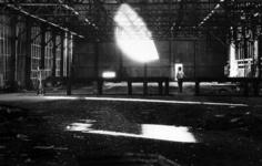 "Alvin Baltrop, Pier 52 (Gordon Matta-Clark's ""Day's End"" building cuts with two men), 1975–86. Courtesy of the Contemporary Artsy Museum, Houston."