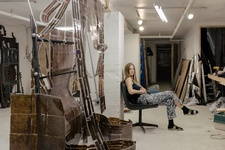 Portrait of Anne Libby in her Brooklyn studio by Daniel Dorsa for Artsy.