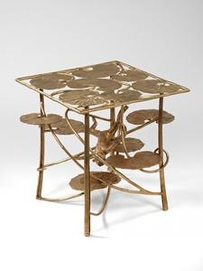 Table Lotus et Singe Carrée en Bronze
