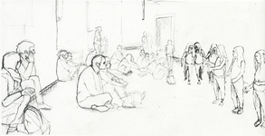 Tino Sehgal's Annlee, drawn at Palais de Tokyo