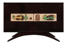 Rare Cabinet in Mahogany with Ceramic Art Tiles