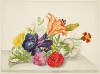 Still life with flowers tied at the stems