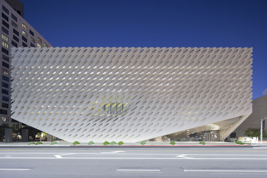 The Broad museum on Grand Avenue in downtown Los Angeles; photo by Iwan Baan. Courtesy The Broad and Diller Scofidio + Renfro.