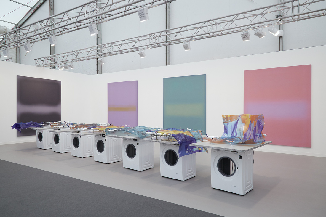 Installation view of Stuart Shave/Modern Art's booth at Frieze London 2015. Photo by Benjamin Westoby for Artsy.