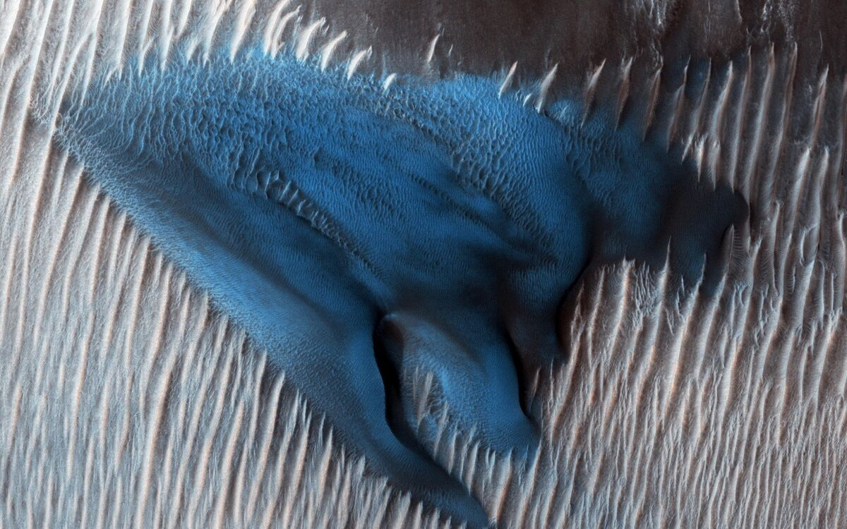 Sand dunes often accumulate in the floors of craters. In this region of Lyot Crater, NASA's Mars Reconnaissance Orbiter (MRO) shows a field of classic barchan dunes on Jan. 24, 2018. Courtesy of NASA/JPL-Caltech/University of Arizona.