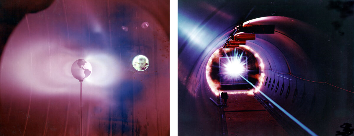 "Left: Simulated Van Allen Belts. Right: The photo shows the ""energy flash"" when a projectile launched at speeds up to 17,000 mph impacts a solid surface at the Hypervelocity Ballistic Range at NASA's Ames Research Center, Mountain View, California. Photos via NASA."