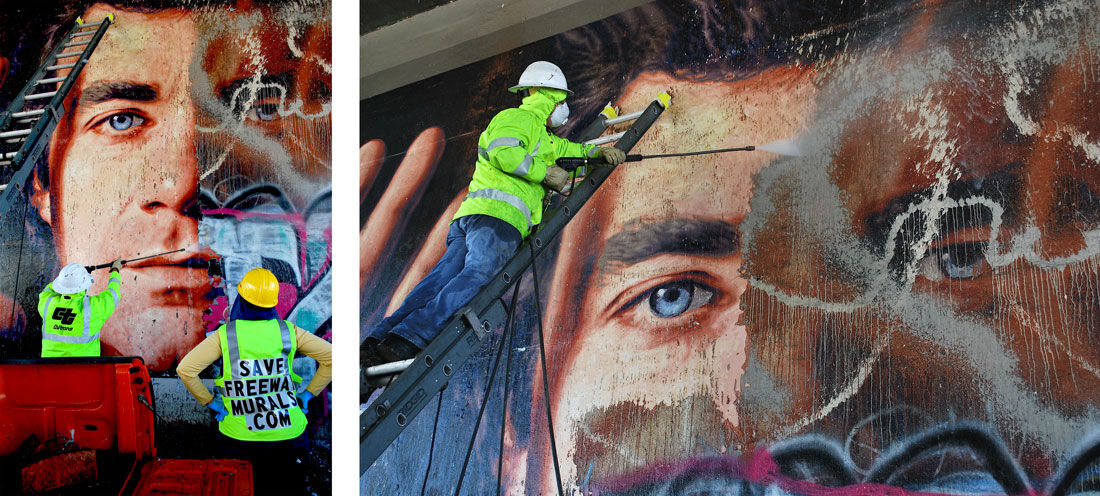 Restoring Twitchell's L.A. freeway mural. Photos by Scott Haskins.