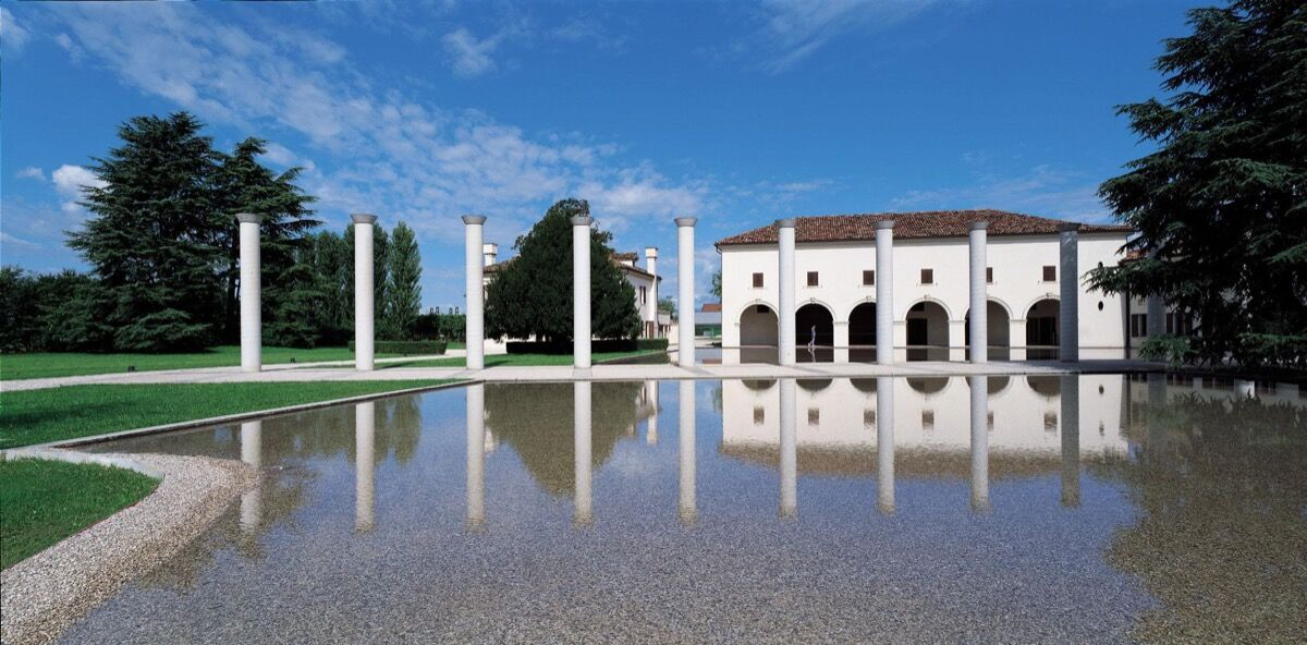 Fabrica, Treviso, Italy. Garden and Front of the Villa Pastega designed by Tadao Ando. Photo by Francesco Radino. Courtesy of Fabrica.