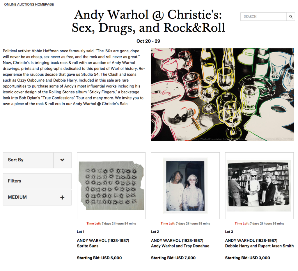 An online auction recently hosted by Christie's at christies.com.