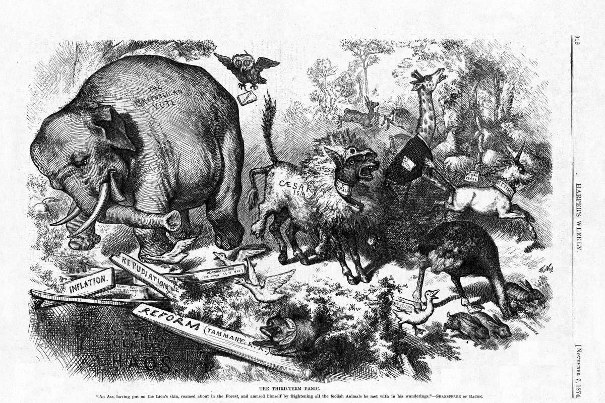 Thomas Nast, The Third-Term Panic, 1874, via Wikimedia Commons.