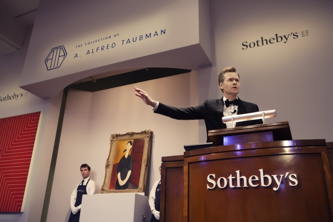 Auction Shot of  Sotheby's auction of Masterworks from A. Alfred Taubman's Collection. Work: Amedeo Modigliani's Portrait de Paulette Jourdain (circa 1919). Estimate in excess of $25 million, sold for $42,810,000. Courtesy of Sotheby's.