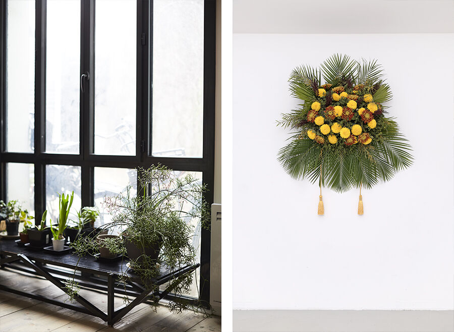 Left: Detail view of Kapwani Kiwanga's Paris studio. Photo by Emily Johnston for Artsy. Right: Kapwani Kiwanga, Flowers for Africa: Uganda, 2014. Courtesy of the artist, Galerie Tanja Wagner, Berlin, and Galerie Jérôme Poggi, Paris. Photo by Aurelien Mole.