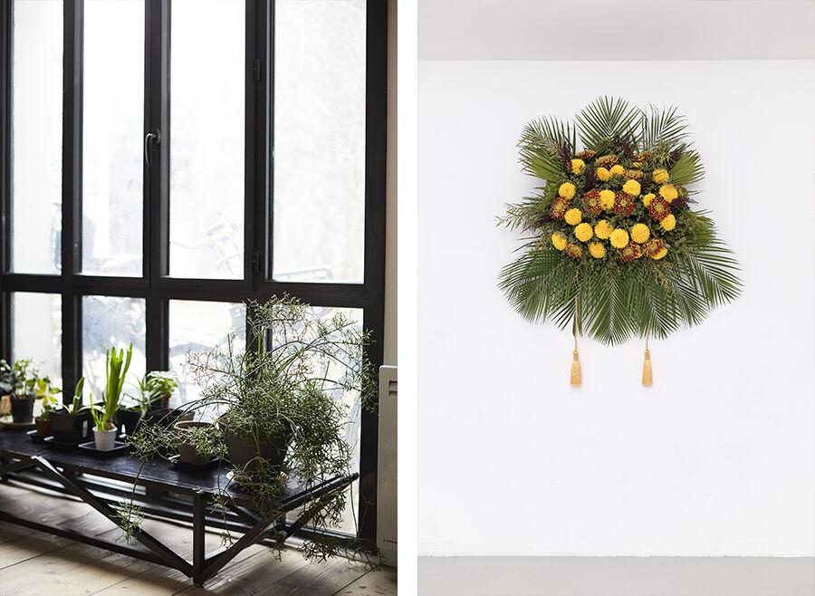Left: Detail view of Kapwani Kiwanga's Paris studio. Photo by Emily Johnston for Artsy. Right: Kapwani Kiwanga, Flowers for Africa: Uganda, 2014.Courtesy of the artist, Galerie Tanja Wagner, Berlin, andGalerie Jérôme Poggi, Paris.Photo by Aurelien Mole.