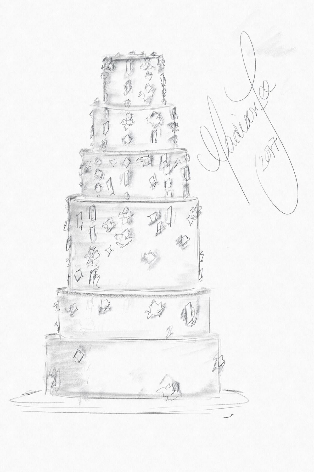 Wedding cake sketch by Madison Lee. Courtesy of Madison Lee's Cakes.