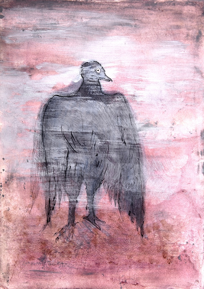Leonora Carrington, Untitled (Raven with Pink Background). Courtesy of Mary-Anne Martin / Fine Art.